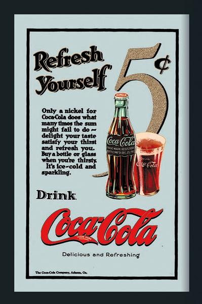 Coca-Cola, Refresh yourself - Spegeltavla / Pubspegel / Barspegel