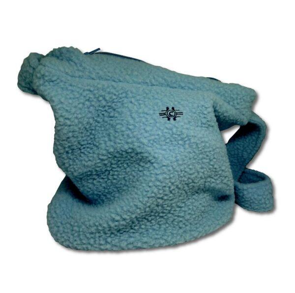 """Babyblå handväska i """"Teddy""""tyg"""